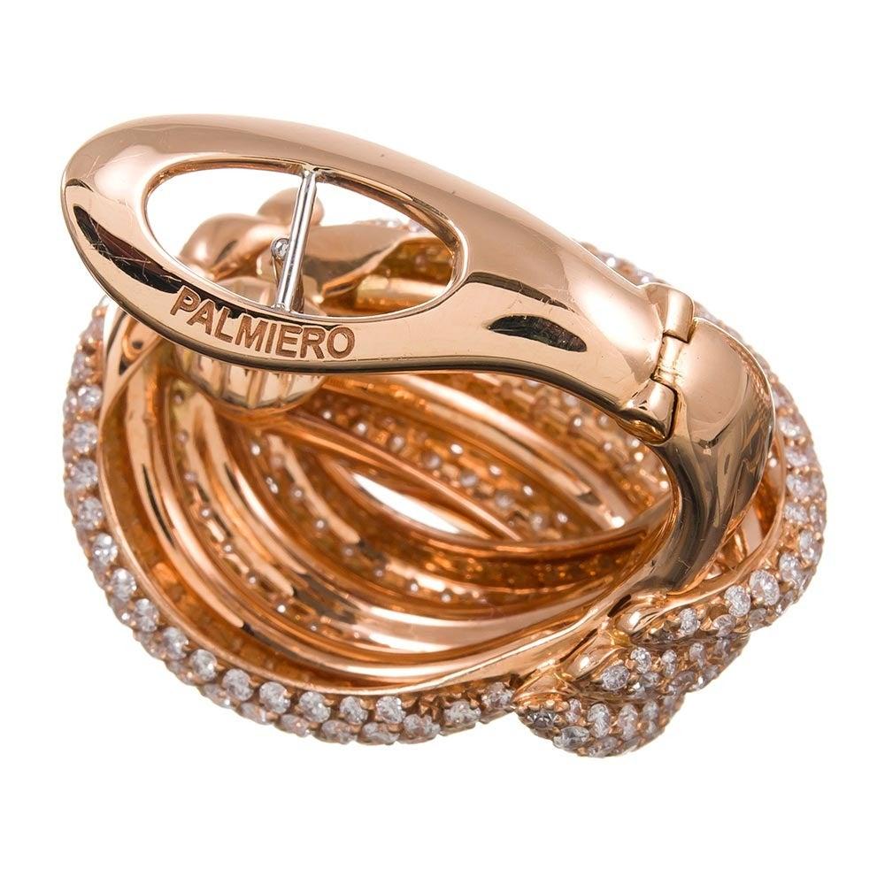 Palmiero Italian Diamond Gold Knot Earrings 3