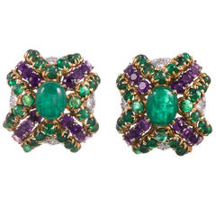 Tiffany & Co. Amethyst Emerald Diamond Gold Cushion Earrings