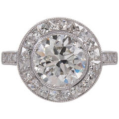 2.57 Carat Old European Cut Diamond Platinum Target Engagement Ring