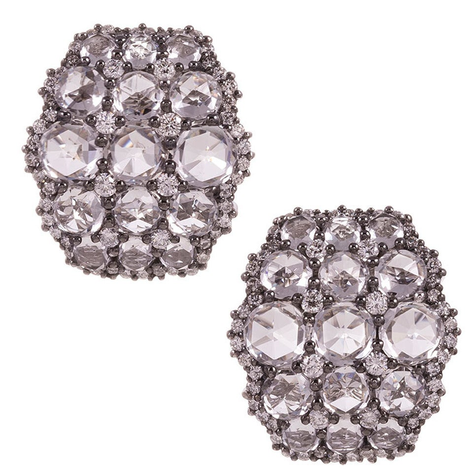White Topaz Diamond Gold Cluster Earrings 1