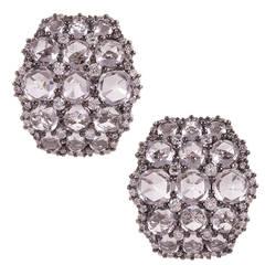 White Topaz Diamond Gold Cluster Earrings