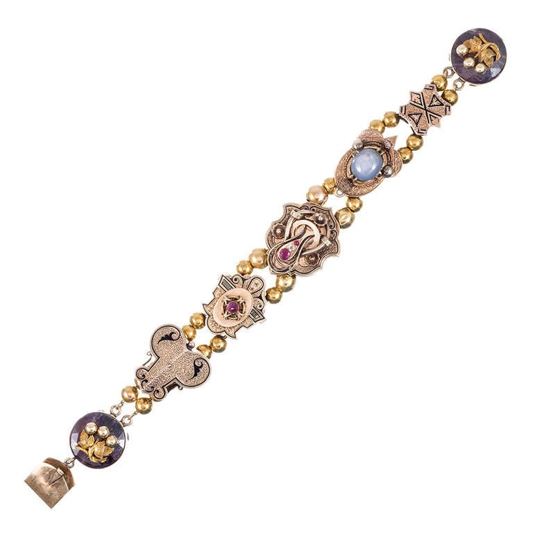 Slide Charms For Bracelets: Victorian Slide Bracelet With Corundum, Ruby And Diamond