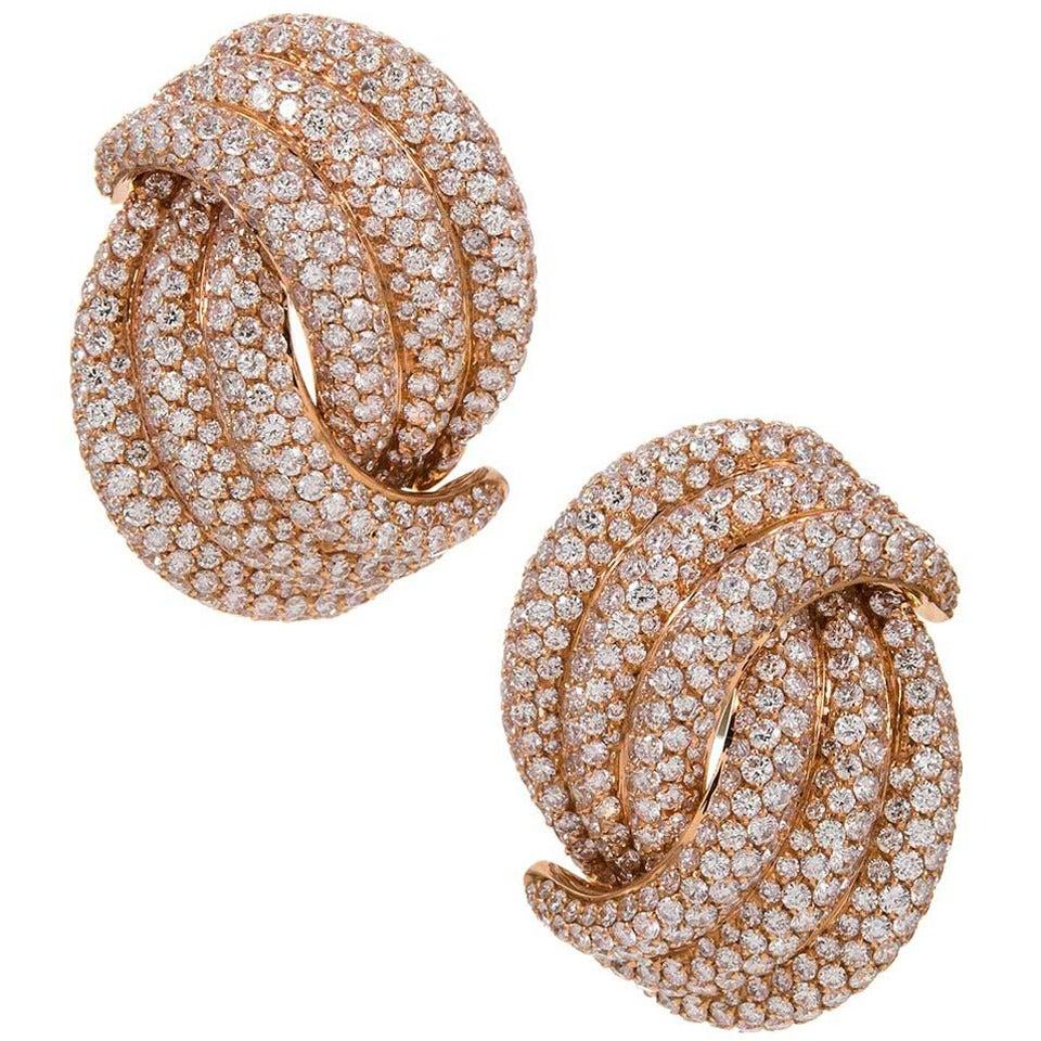 Palmiero Italian Diamond Gold Knot Earrings For Sale