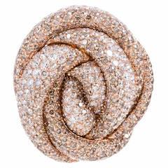 Italian Palmiero Diamond Rose Gold Knot Ring
