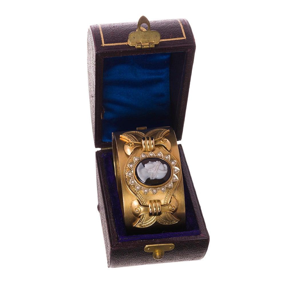 Victorian Cameo Pearl Gold Cuff Bracelet in Original Box 2
