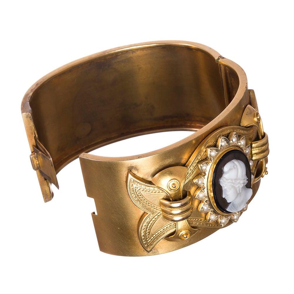 Victorian Cameo Pearl Gold Cuff Bracelet in Original Box 3