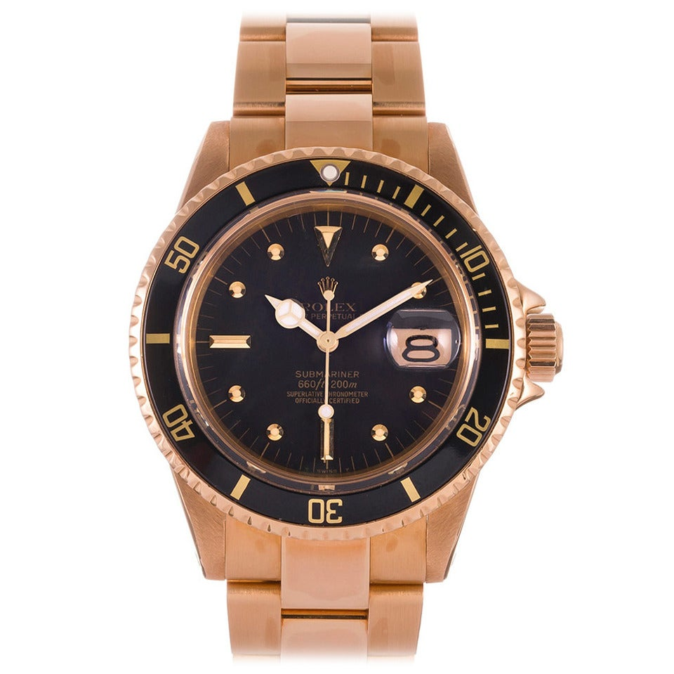 Rolex Yellow Gold Submariner Wristwatch Ref 1680 For Sale