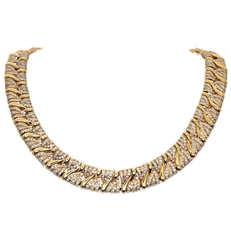 Bulgari Diamond and Yellow Gold Collar Necklace