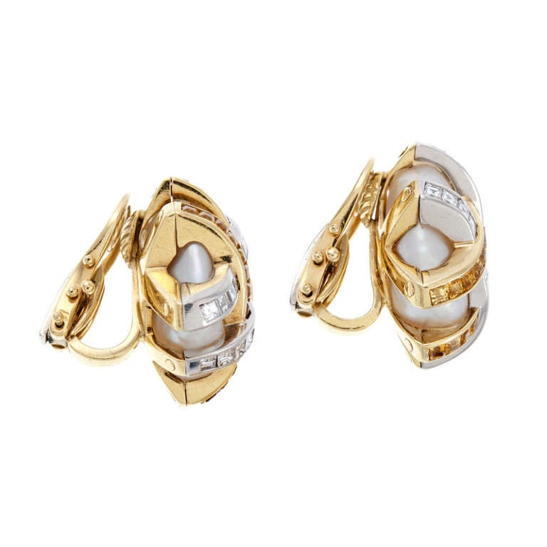 Baroque Pearl Diamond and Yellow Sapphire Earrings 2