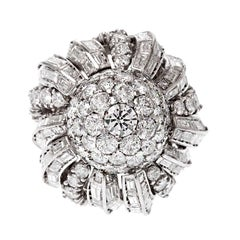 French 1950s Mixed Cut Diamond Dome Platinum Ring
