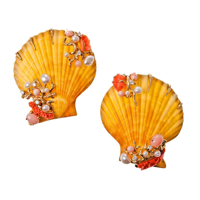 Trianon Scallop Shell Diamond Coral Keshi Pearl Biwa Pearl Gold Brooches 1