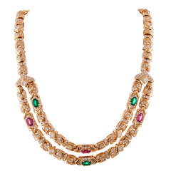 Bulgari Double Drop Link Necklace with Tourmaline and Diamonds