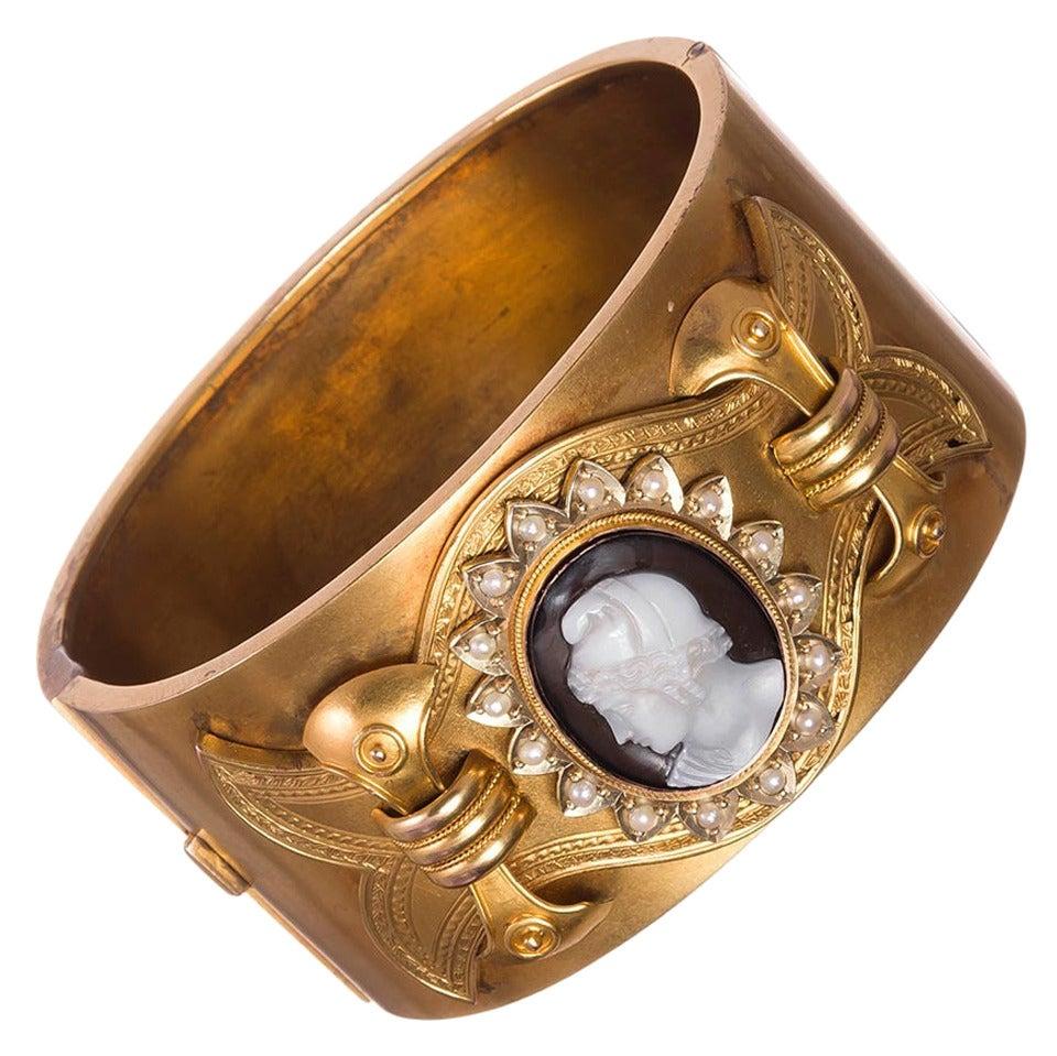 Victorian Cameo Pearl Gold Cuff Bracelet in Original Box 1