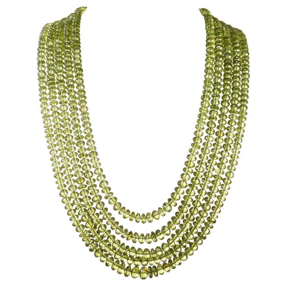 Multi Strand Peridot Necklace With Asymmetrical Cabochon
