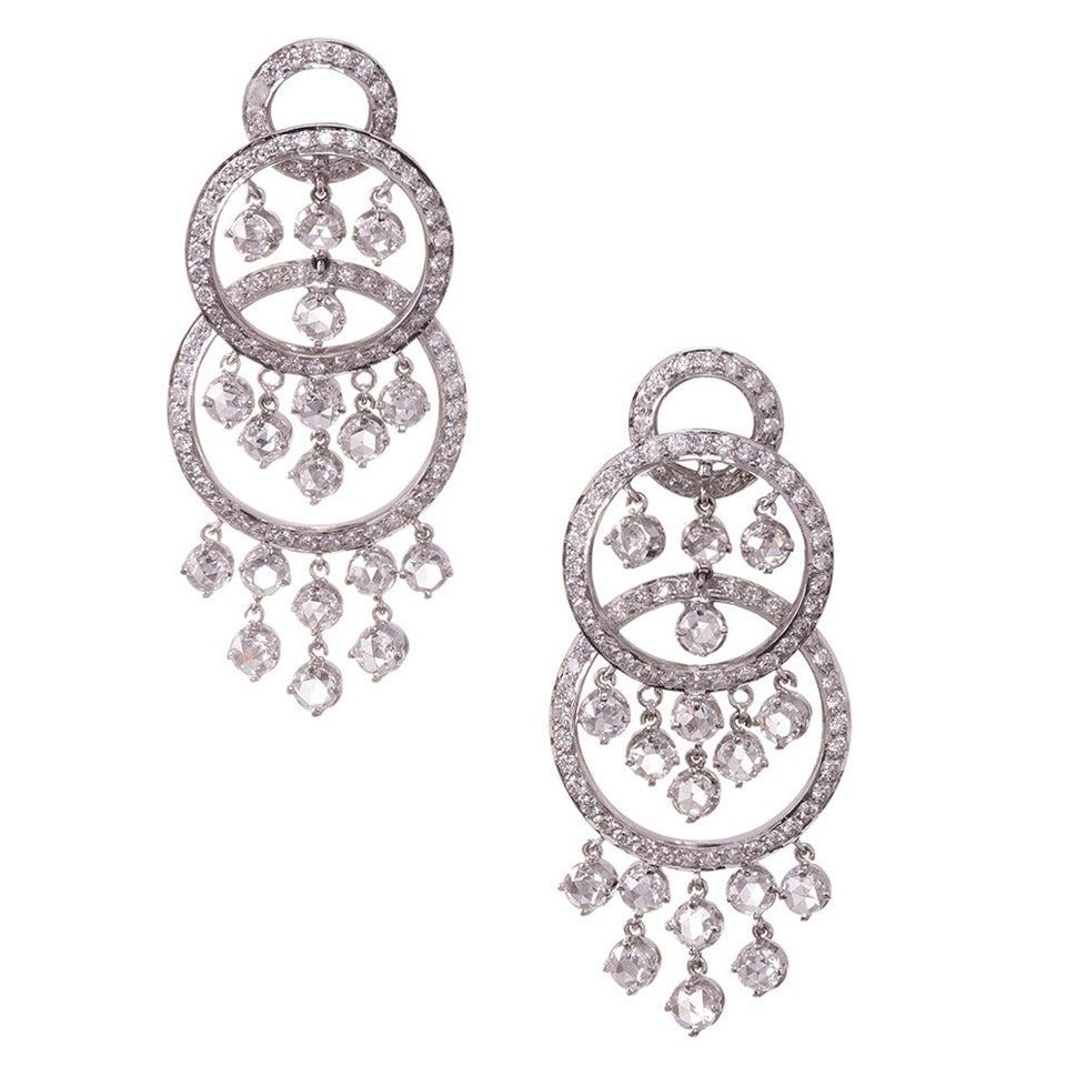 21.50 Carat Diamond Gold Chandelier Earrings For Sale
