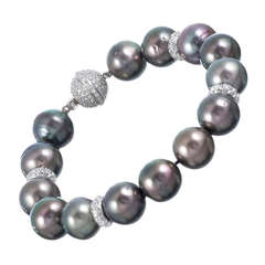 Assael 13.5mm Tahitian South Sea Pearl and Diamond Bracelet