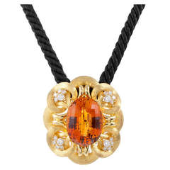 Henry Dunay Extra Fine Citrine Substantial Gold Pendant/Brooch