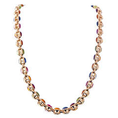 Contemporary Neck Chain with Assorted Cabochon Gemstones