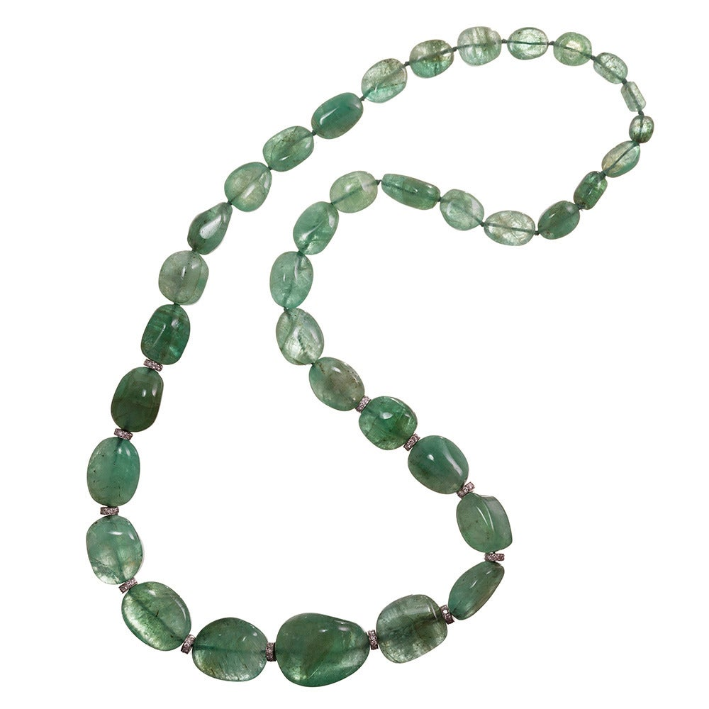 650 carat emerald bead and necklace at 1stdibs