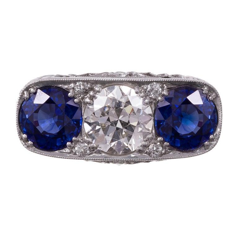 Art Deco Sapphire Diamond Platinum Filigree Ring For Sale