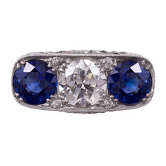 Art Deco Sapphire Diamond Platinum Filigree Ring
