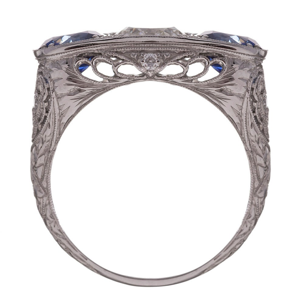Old European Cut Art Deco Sapphire Diamond Platinum Filigree Ring For Sale