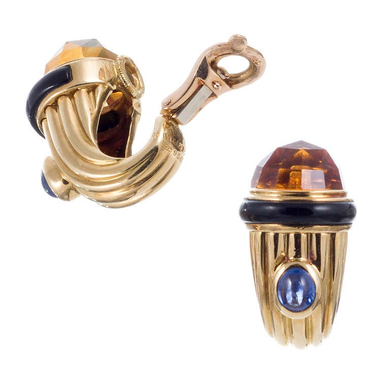 Bulgari Citrine, Sapphire and Onyx Earrings 2