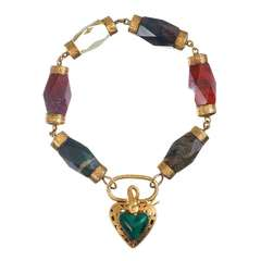 Victorian Scottish Agate and Malachite Gate Bracelet
