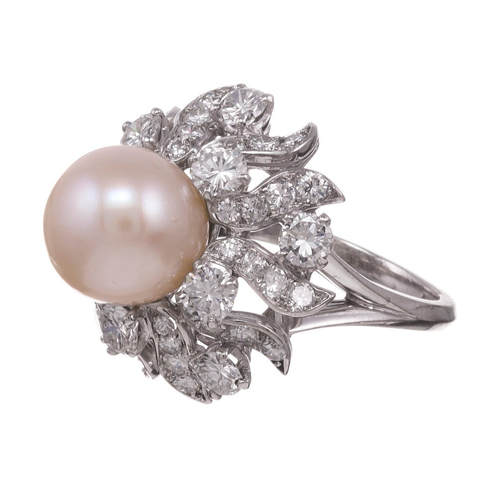 Pearl Platinum: Patrick Mauboussin Pearl Diamond Platinum Ring At 1stdibs