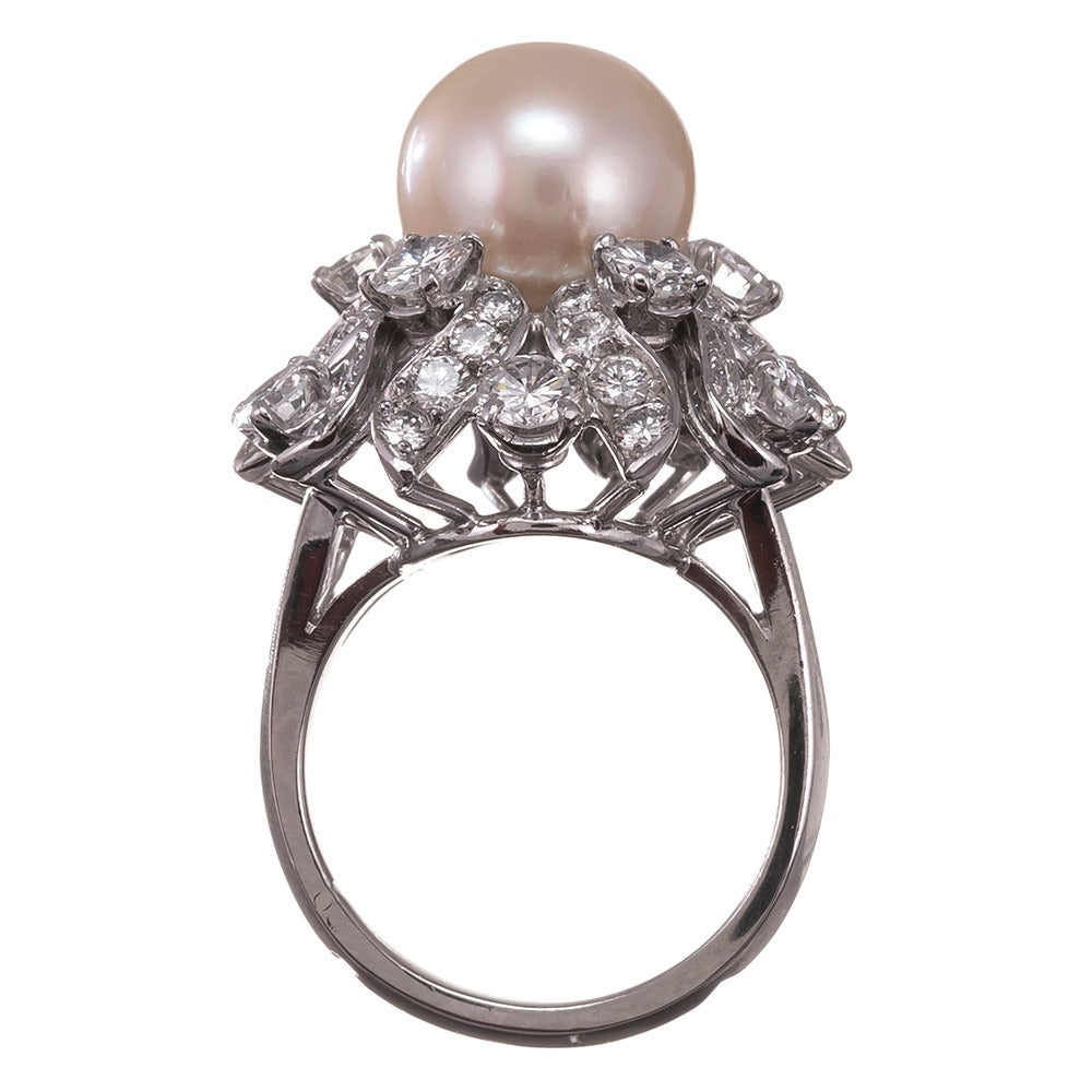 Patrick Mauboussin Pearl Diamond Platinum Ring 4