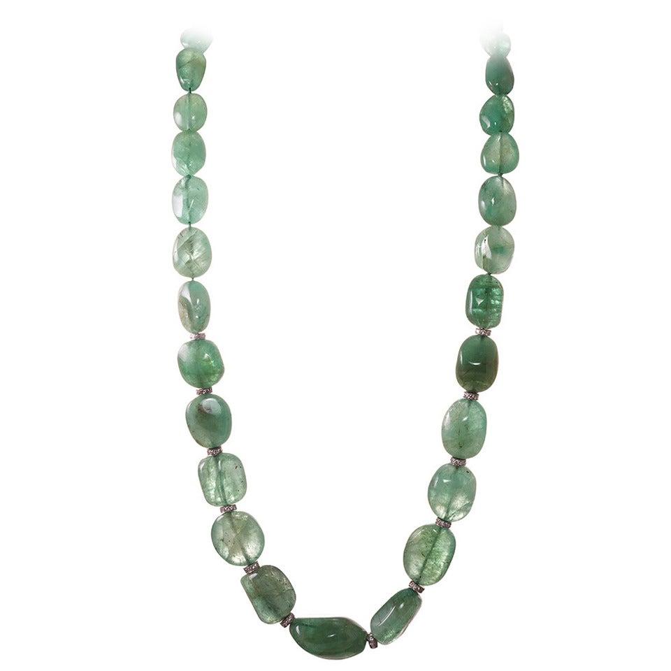 Beaded Diamond: 650 Carat Emerald Bead And Diamond Necklace At 1stdibs