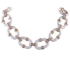 David Webb White Enamel Diamond Gold Necklace