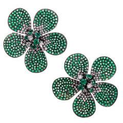 Large Emerald  Diamond Flower Earrings