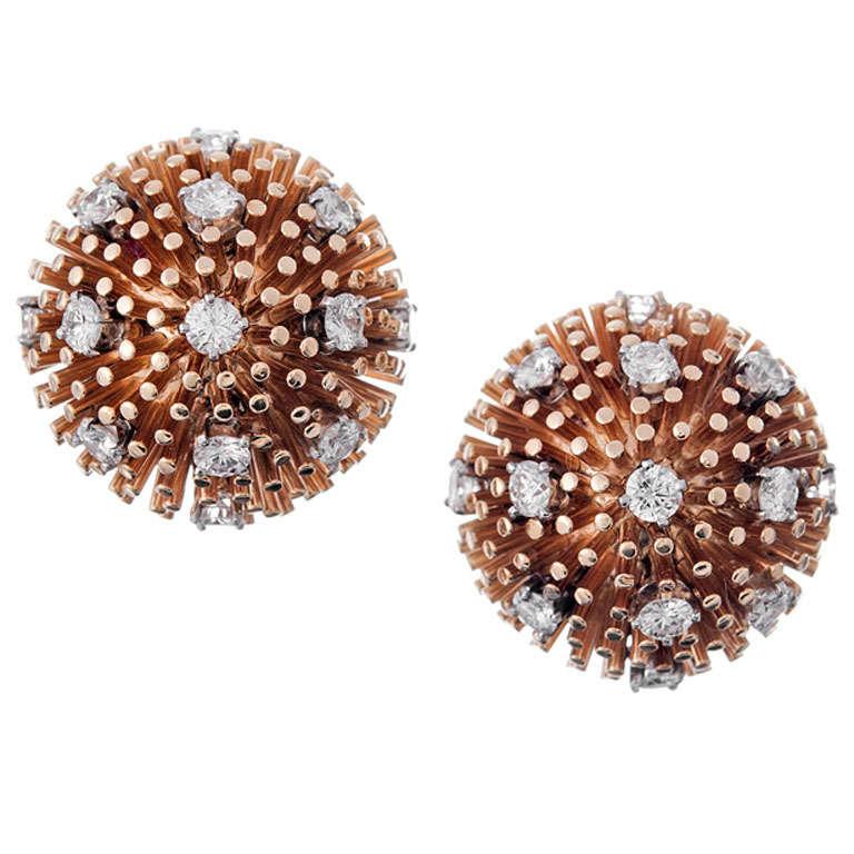 Ruser Rose Gold and Diamond Galactic 1960s Earrings
