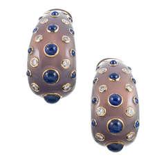 FASANO Chalcedony Hoop Earrings with Sapphires and Diamond