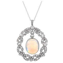 Art Deco Opal Diamond Platinum Pendant