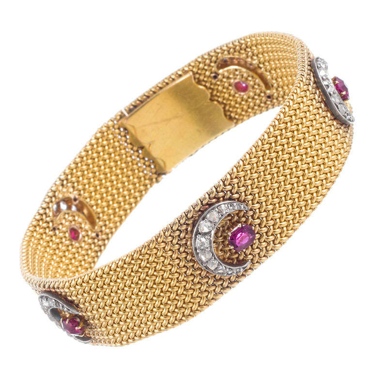 Victorian Moon and Stars Mesh Bracelet For Sale