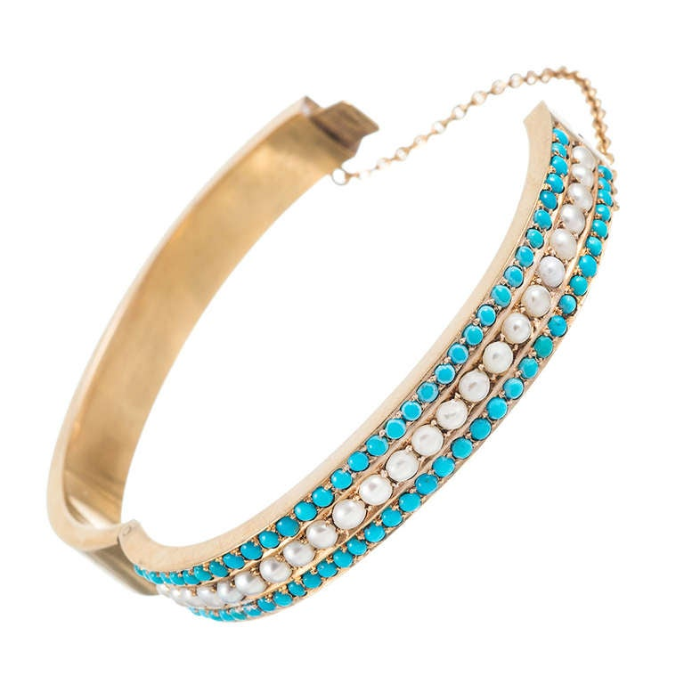 Victorian Turquoise and Pearl Bangle 2