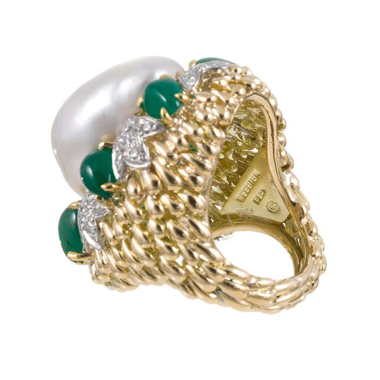 david webb large baroque pearl and emerald