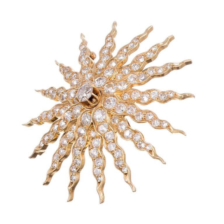 Golden Old European Cut Diamond Starburst Pin/Pendant 2