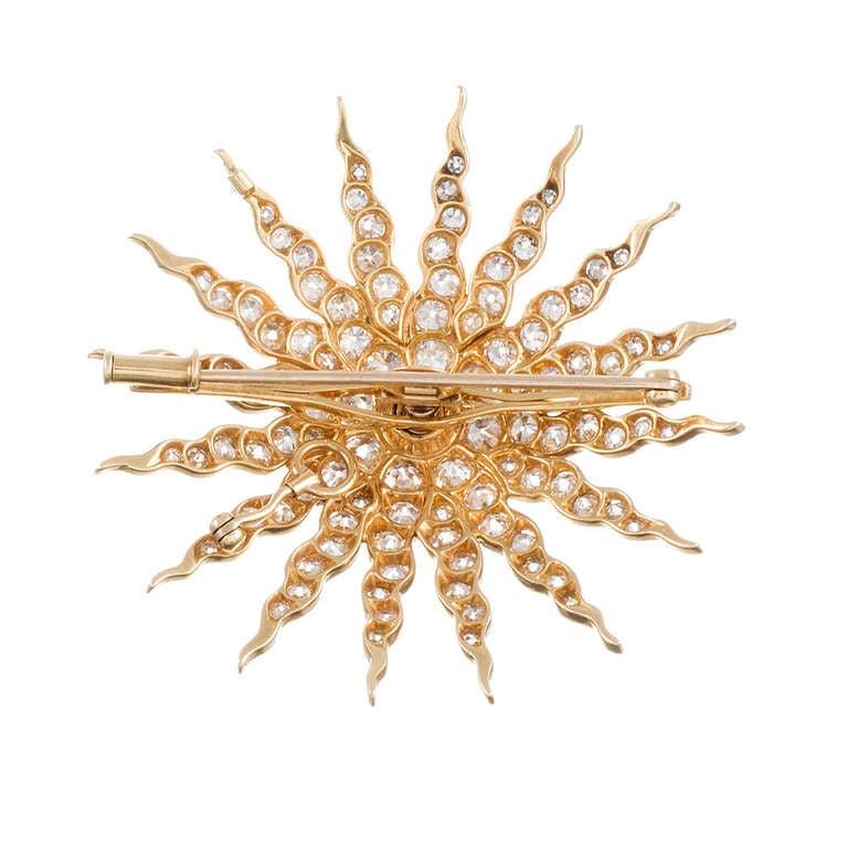 Victorian Golden Old European Cut Diamond Starburst Pin/Pendant For Sale