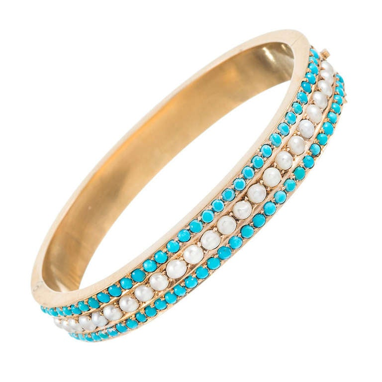 Victorian Turquoise and Pearl Bangle 1