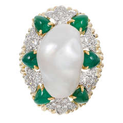 David Webb Large Baroque Pearl, Diamond and Emerald Cocktail Ring