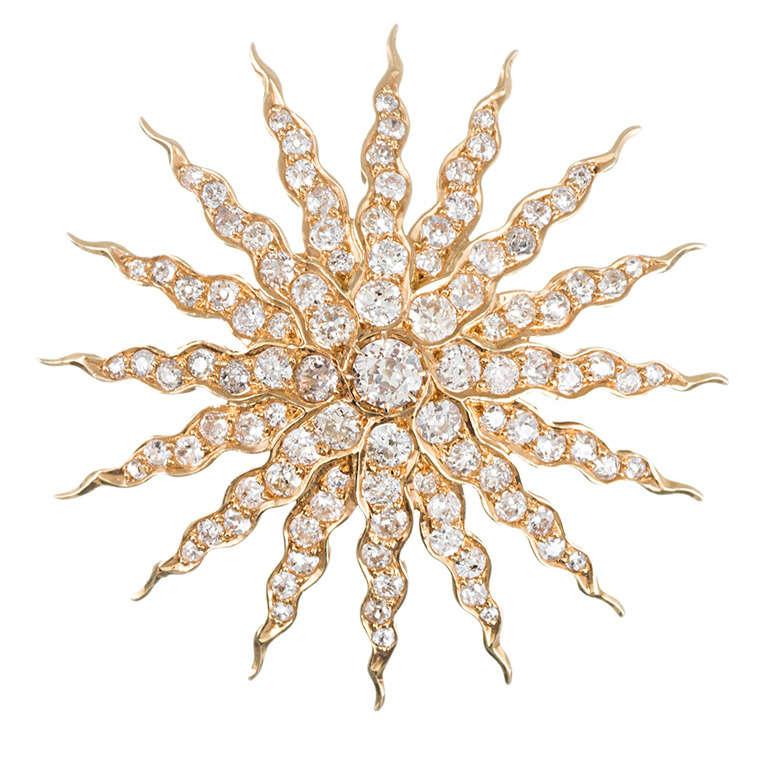 Golden Old European Cut Diamond Starburst Pin/Pendant For Sale