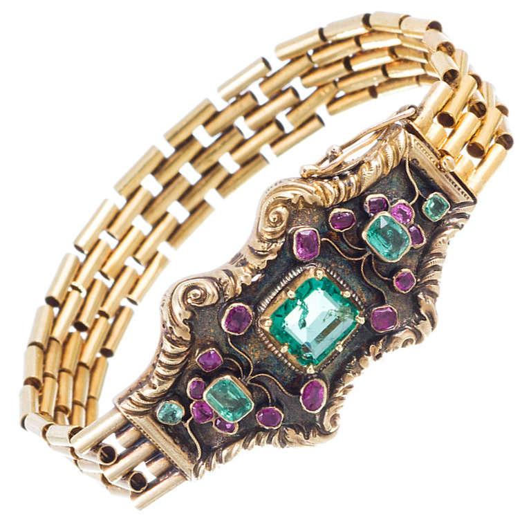 Antique Emerald Ruby Gold Bracelet