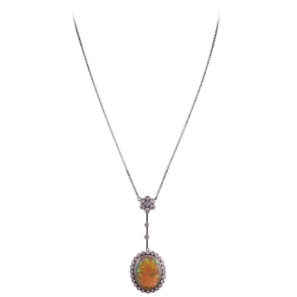 Edwardian Opal Diamond Gold Platinum Drop Necklace