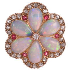 Victorian Opal Ruby Diamond Yellow Gold Flower Pin Pendant