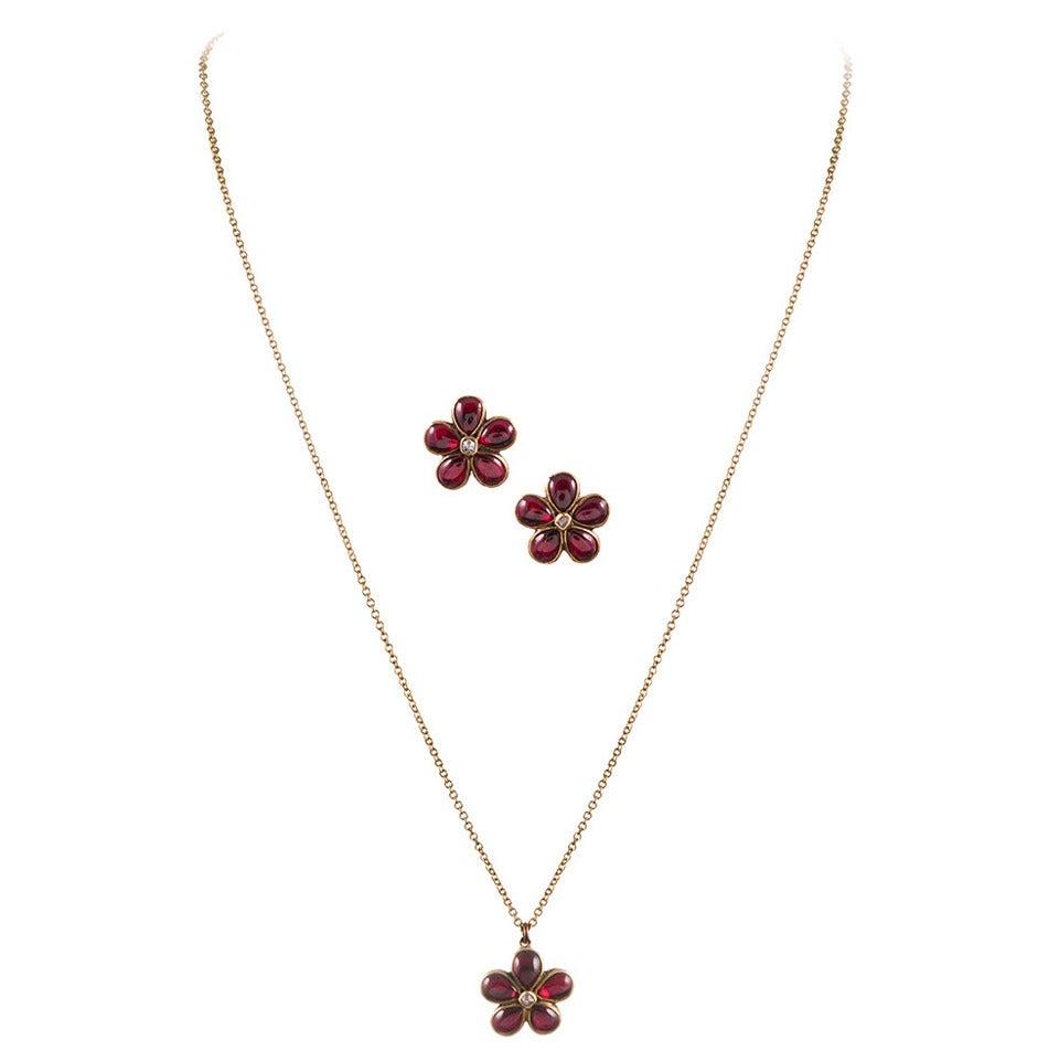 Victorian garnet diamond flower earrings and pendant suite at 1stdibs victorian garnet diamond flower earrings and pendant suite for sale mozeypictures Choice Image