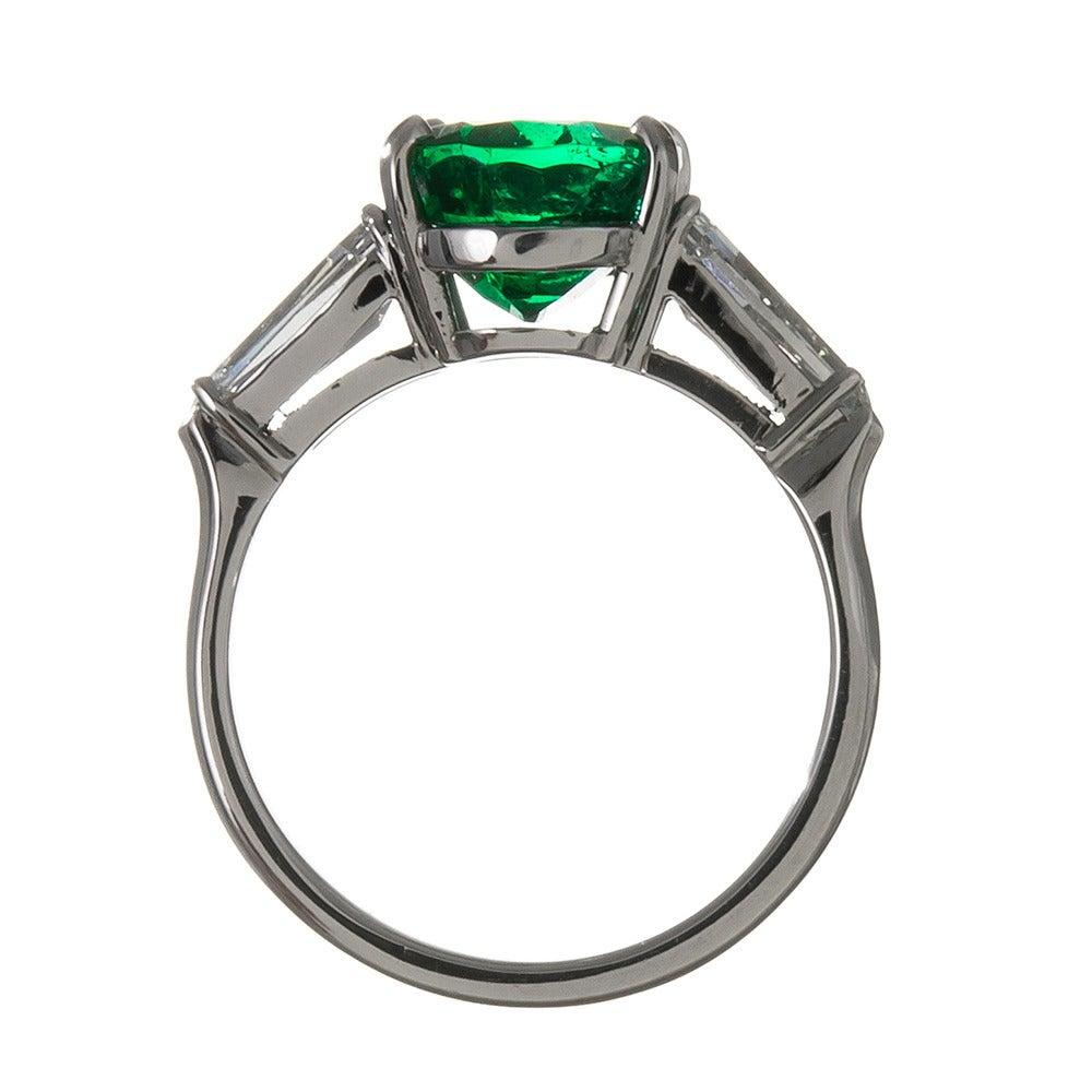 Elegant 3 49 Carat Oval Emerald Kite Diamond Shoulders Platinum Engagement Ri