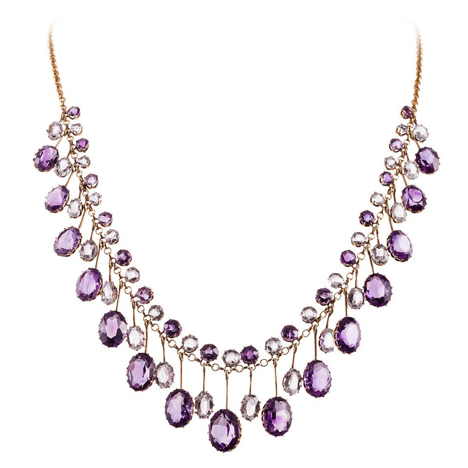 Victorian Amethyst Aquamarine Gold Collar Necklace For Sale